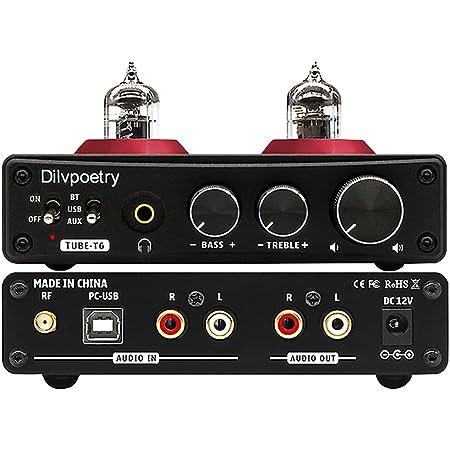 Dilvpoetry TUBE-T6 真空管プリアンプ 24bit/192kHz 真空管 DACヘッドホンアンプ Bluetooth 5.0 DACヘッドホンアンプ ステレオオーデイオホームアンププリアンプ 高低音調整 真空管6*1n DAC チューブアンプ TV/CDプレーヤー/PC用アンプ (ブラック)