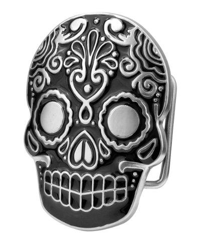 Buckle Rage Adult Unisex Mexican Katrina Dia De Muertos Skull Belt Buckle Black