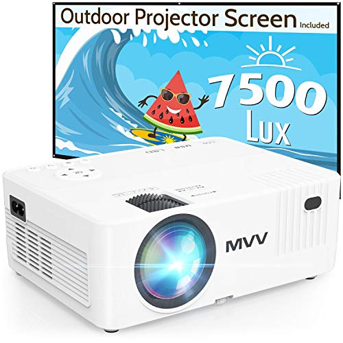MVV 1080P Projector with 100'' Screen, [200 ANSI--Over 7500 Lux] Projector for Outdoor Movies Portable Compatible with Smartphone TV Stick HDMI USB