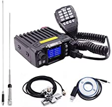 QYT KT-7900D Quad Band Quad Standby 25W Mini Mobile Car Radio 144/220/350/440MHz+ QYT Quad Band Antenna & USB Programming Cable + RB400 Car Clip Edge with 5M Coaxial Cable