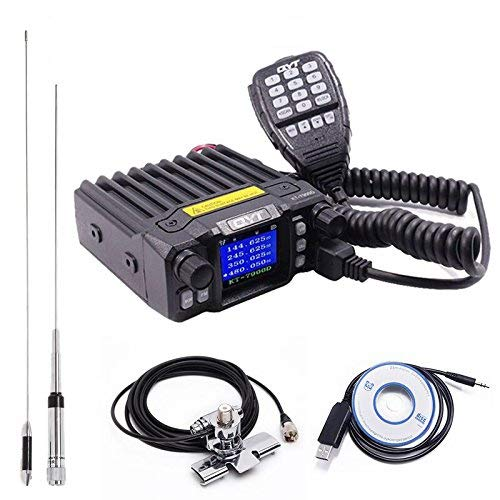 QYT KT-7900D Quad Band Quad Standby 25W Mini Mobile Car Radio 144/220/350/440MHz+ QYT Quad Band Antenna & USB Programming Cable + RB400 Car Clip Edge with 5M Coaxial Cable Dual Band Quad Band