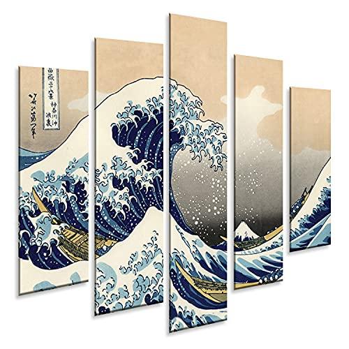 Giallobus - 5 Panel múltiple Art Board - Hokusai - La Gran Ola de Kanagawa - Panel PVC - 140x100