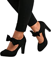 Fashare Womens Bowtie Mary Jane Pumps High Heels Closed Toe Platform Party Dress Shoes Sandals