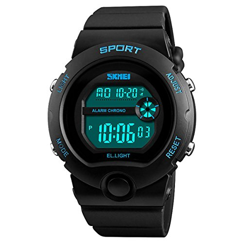 SKMEI Boys Black Digital with Blue Markers Watch 50m Water Resistant with...