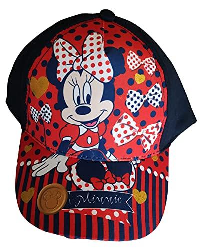 Minnie Maus Kappe Base Cap Mütze Sonnenhut mit Motiv Glitzer, Herzen, Schleifen für Kinder, Mädchen und Jungen (Blau, 52)