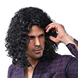 Starcourtyard 70s Long Black Curly Wig for Men Halloween Cosplay Wigs Large