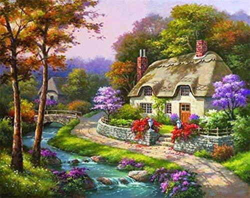Pinturas para Lienzo Kits Manualidades Cabaña Romántica DIY Regalos Pinturas con Numeros para Adultos Pinturas Oleo 40X50Cm