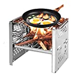 Outry Lightweight Camping Stove, Folding Wood Stove Stainless Steel Outdoor Portable Backpacking Stove for Camping Cooking BBQ with Storage Bag
