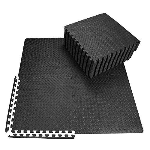 innhom 12/24 Fliesen Gymnastikmatte Gymnastikmatten Puzzle-Schaumstoffmatten Gymnastikmatte ineinandergreifende Schaumstoffmatten mit EVA-Schaumstoff-Fliesen für Fitness-Equipment Workouts, Schwarz/Grau, 24 Schwarz