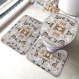 FFLSDR Set di tappetini da Bagno in 3 Pezzi con Occhiali per Cani Chihuahua Set di tappetini da Bagno Morbidi e assorbenti Antiscivolo