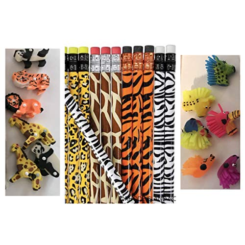 Dozen (12) Jungle Safari Animal Print Pencils & 6 Each: Zoo Pencil Toppers & Moveable Erasers - Party Favors Classroom Give-aways School