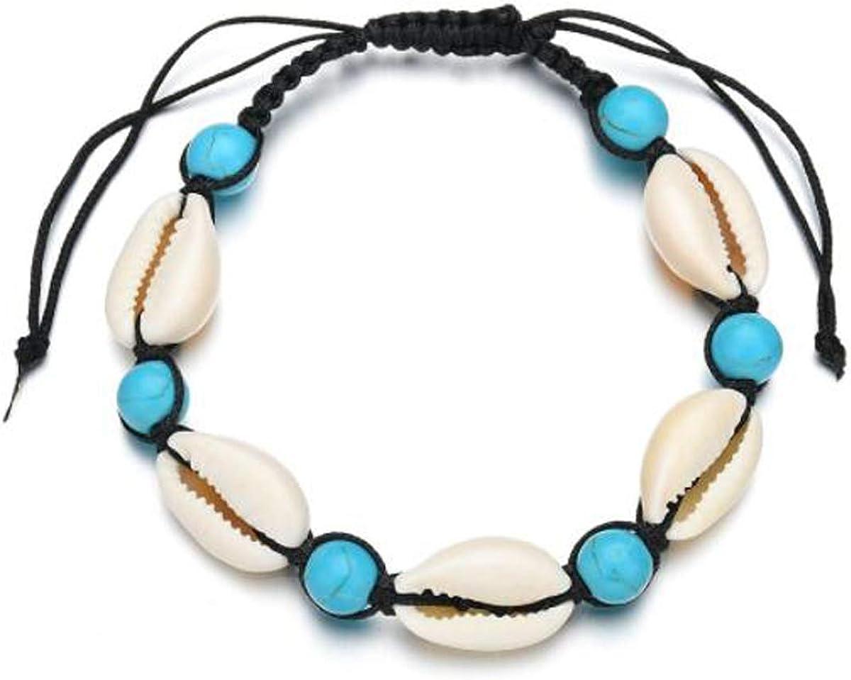 Darkey Wang Natural Cowrie Shell Bracelet Handmade Beach Hawaiian Style Adjustable for Women Unisex