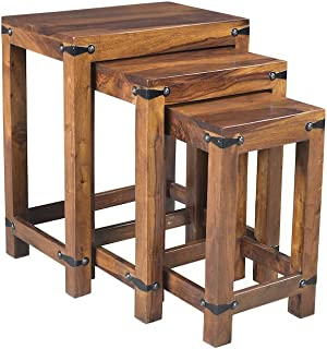 Timbergirl AA1305 Hand-Crafted Rustic Nest of Tables - Set of 3, 18 W x 12 D x 22H