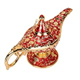 WEISIPU Aladdin Magic Genie Lamps - Classic Vintage Collectable Magic Genie Light Lamp for Home Table Decoration/Party/Halloween/Birthday (Gold-Red)