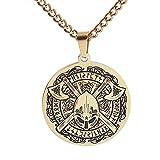XBOMEN Männer Wikinger Helm Tomahawk Halskette, Nordic Edelstahl Kompass Odin Keltischer Anhänger, mittelalterliche mythische Rune Totem Hip Hop Rock Style Schmuck (Color : Gold)