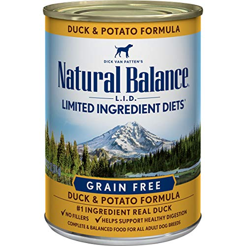 Natural Balance L.I.D. Limited Ingredient Diets Wet Dog Food, Duck & Potato Formula, 13 Ounce Can (Pack of 12)