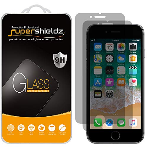 (2 Pack) Supershieldz Designed for Apple iPhone 6 and iPhone 6s (Privacy) Anti Spy Tempered Glass Screen Protector, 0.33mm, Anti Scratch, Bubble Free