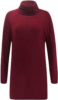 EFINNY Womens Knitted Dress Sweater Jumper Autumn Winter New Slim Long Thick High Collar Drop Shoulder Long Sleeve Sweater Dress Women