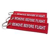 Remove Before Flight Portachiavi | Etichetta per il bagaglio | Set di 3 | Rosso/Bianco | aviamart®