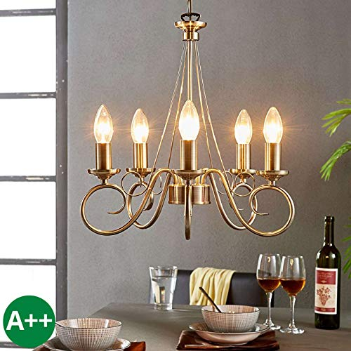 Lindby Marnia - Lámpara de araña regulable (estilo retro, vintage, envejecida) en bronce para salón y comedor (5 focos, E14, A++)
