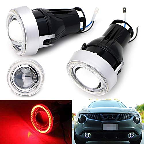 iJDMTOY 3-Inch Projector Fog Light Kit w  40-SMD Brilliant Red LED Halo Ring Angle Rings, Universal Fit With Car SUV Truck ATV RV, etc
