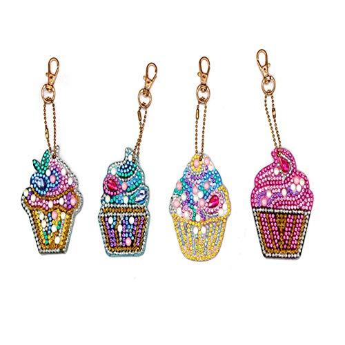 UM UPMALL 5D Diamond Painting Kit Keychain, 4Pcs DIY Handmade Full Diamond Painting Decorative Accessories Ice Cream Crafts (Accessories Decorative Chain)