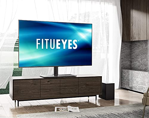 FITUEYES Universal TV Stand/Base Tabletop TV Stand with Mount for 40 to 75 inch Flat Screen TV 6 Level Height Adjustable,Tempered Glass Base,Holds up to 110lbs Screens