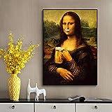 CHBOEN Leinwandmalerei Parodie Spaß Mona Lisa Trinken Bier