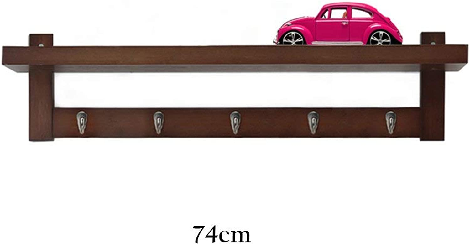 DYR Coat Rack Multifunction Solid Wood Wall Shelves Coat Stand for Clothes Stable and Resistant Clothes Hanger (Dimensions  74 cm (5 Hooks))
