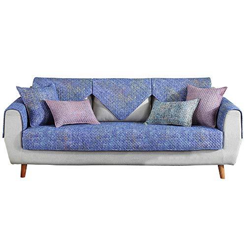 YUTJK Cubierta de sofá de algodón Impreso Lavable,Dos Plazas Antideslizante Funda para Sofá,Universal Acolchado Funda,Cubre Sofá para Chaise Long Rinconera,Nebulosa Azul_70×90cm