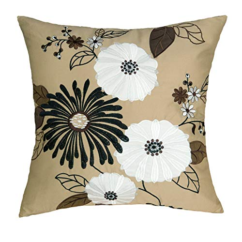 Floral Cushion Cover Decorative Throw Pillowcase 45X45cm 1PC Applique Embroidery Cotton Sateen Couch Pillow Shell Black/White/Brown Farm House County Blooming Flower Fall Festive Decor Garden Florist
