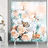 XSHMTSYBathroom Flower Shower Curtain Yellow Rose Bridal Bouquet and White Calla Lily Butterfly Waterproof Fabric Flower Shower Curtain Bathroom Accessories with Hooks 175.26 X 177.8 cm Cyan