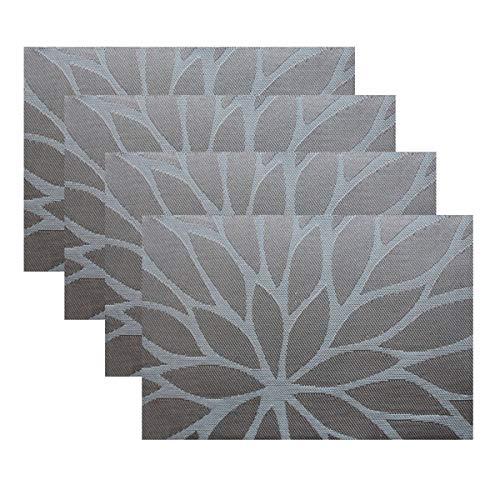 YO FUN Sets de Table lot de 6 Vinyle Lavable Antidérapant PVC Placemat Isolation Thermique pour Cuisine 45x30cm, Café