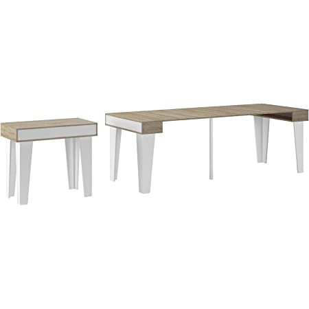 Skraut Home - Table Console Extensible avec rallonges, modèle Nordic kl jusqu'à 237 cm, Salle à Manger, Blanc Mat et chêne brossé. Jusqu´à 10 pers.