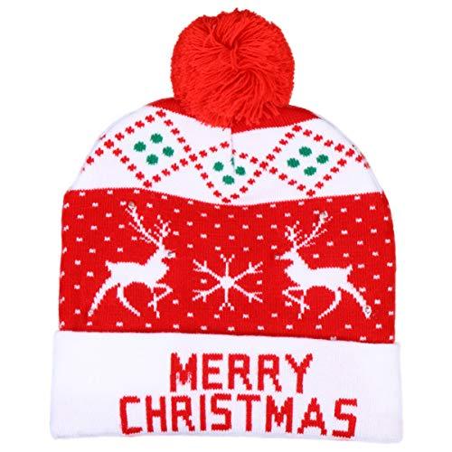 ABOOFAN Gorro de Navidad LED con luz de Santa Claus de punto de reno, gorro de invierno, gorra, accesorios para Navidad, fiesta de disfraces