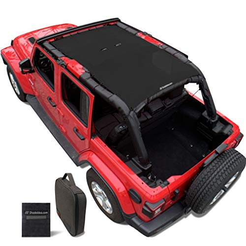 Shadeidea Sun Shade for Jeep Wrangler JL Unlimited (2018-Current) 4 Door Front and Rear-Black Mesh Screen Sunshade JLU Top Cover UV Blocker with Grab Bag-One time Install 10 years Lasting