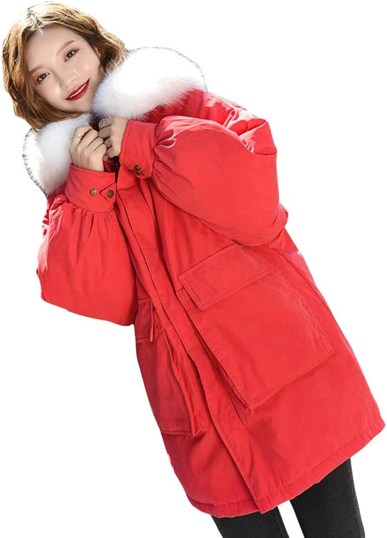 TOPJIN Women's Midi Length BatWing Sleeves Down Jacket Hooded Loose Winter Coat