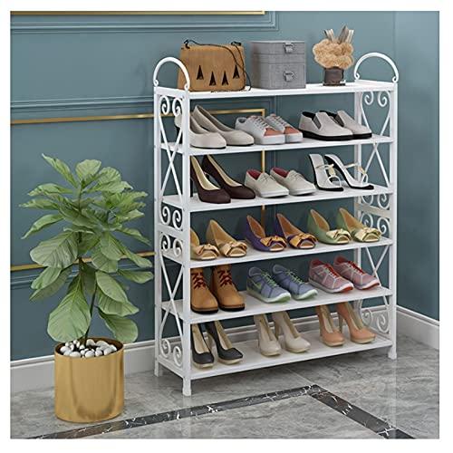 Estante de Zapatos 5/6/7 Nivel Zapato Rack Entryway Metal Space Having Shelf Material de almacenamiento Organizador Multifuncional Zapato Torre Stand Organizador de Zapatos ( tamaño : 108cm(6-tiers) )