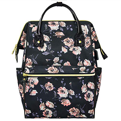 KROSER Mochila para Portátil 15,6' Mochila Universitaria Elegante con Puerto USB Impermeable Bolsa para Laptop Mochila Informal para Viajes/Negocios/Mujeres/Chicas (PATRÓN Rose 3) Laptop Backpack