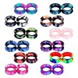 Stuppendux 24PCS Silicone Flexible Ear Tunnels Gauges Plugs Stretchers Expander Double Flared Flesh Tunnels Ear Piercing Jewelry 0G 8MM