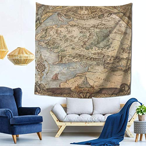 Lord Of The Ring Map Of Middle Earth Tapestry Wall Hanging 3d Printed Wall Tapestry Tapestries Wall Art Aesthetic Home Decorations For Bedroom Living Room Dorm Decor 59 X 59 Inches