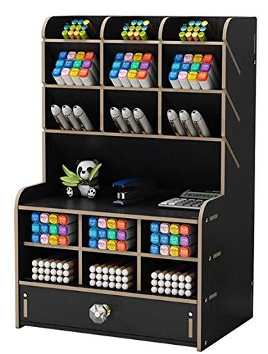 Organizador de Escritorio de Madera Papelería Multifuncional Caja de Soporte de Bolígrafo para Oficina en Casa Rack de Almacenamiento de útiles Escolares con Cajón (Negro-b16)