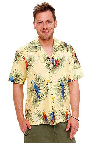 KY's Camisa hawaiana original para hombre, tallas S - 8XL, manga corta, bolsillo frontal, estampado hawaiano, hojas de palmera, color amarillo amarillo M
