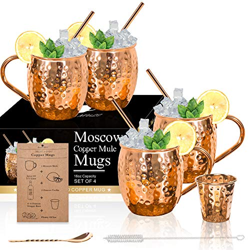 Moscow Mule Copper Mugs - Set of 4-100% HANDCRAFTED Solid Copper Mugs, Gift set with 4 Copper...