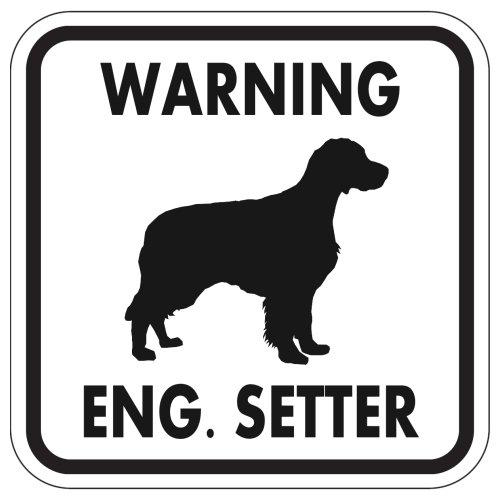 WARNING ENG. SETTER マグネットサイン:イングリッシュセッター(ホワイト)Lサイズ