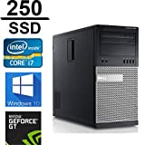 Dell Gaming 990 Desktop Computer Optiplex, Intel Core i7 3.4 upto 3.8GHz 2600 CPU, 250GB SSD, 16GB DDR3 Memory, WiFi, Windows 10 Pro, Nvidia GT710 2GB, (Renewed)