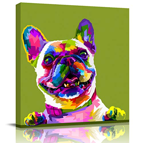 Licans Oil Painting Canvas French Bulldog Dog Wall Art Framed Decorative HD Digital Printing Drawn Home Decoration Artwork 20x20inch Ready to Hang, Colorful Geometric Simple Animal Illustration