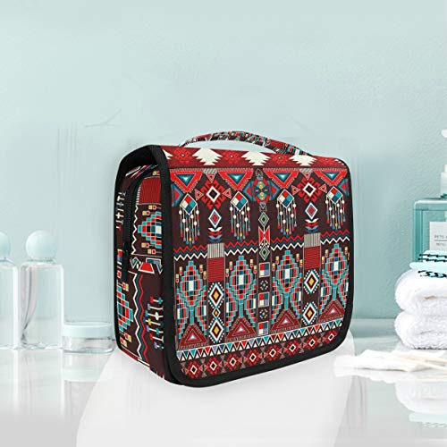 Toiletry Portable Makeup cosmetic bag Hanging Abstract Geometric Floral Ornament Ceramics Pattern Colorful Travel Storage Bag Pouch for Women girls