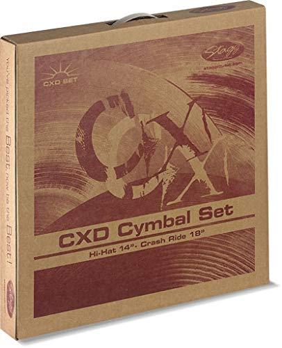Stagg CXD-SET Standard Brass Becken Set mit 14 Zoll Hi-Hats und 18 Zoll Crash Ride Becken