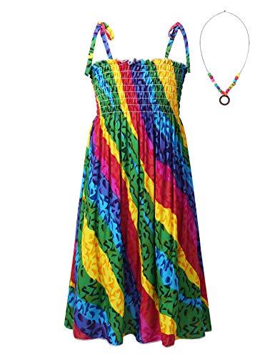 MSemis Niña Vestido Bohemio con Collar Vestido de Playa Vestido Colorido de Tirantes Arcoiris estanpado Beach Dress Cintura Alta Arcoiris 7-8 años